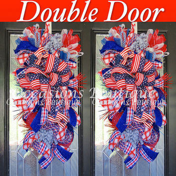 Double Door Wreaths, Fourth Of July Wreath, Door Swags, Summer Wreaths,  Wreath