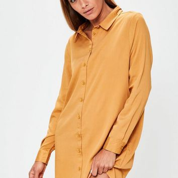 Missguided - Orange Oversized Shirt Dress