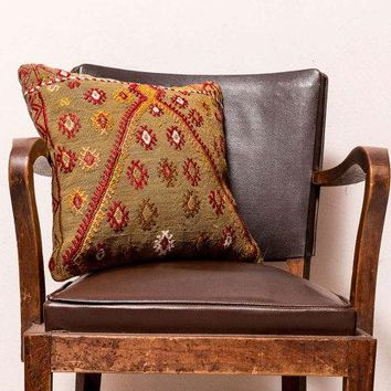 Turkish kilim Pillow Cushion cover 16x16 inches, 40x40 cm