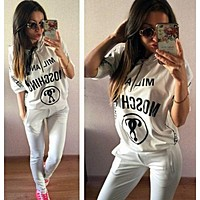 MOSCHINO Casual Print Hoodie Top Sweater Pants Trousers Set Two-piece Sportswear