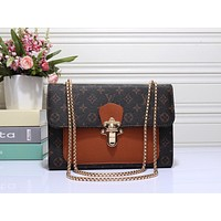 """Louis Vutitton"" Classic Fashion Multicolor Retro Print Metal Chain Single Shoulder Messenger Bag Women Handbag"