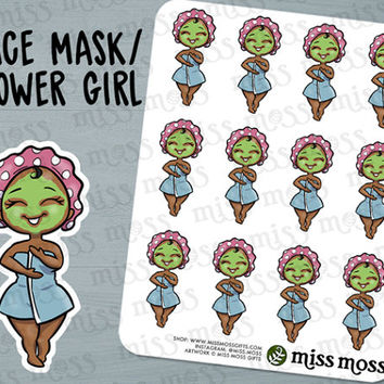 Brown Skin Cute Face Mask Shower Spa Planner Stickers, Black African American - Erin Condren, Happy Planner, Kikki K, Filofax, Decorative