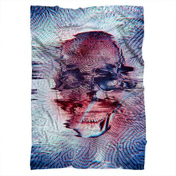 White Glitch Skull Blanket