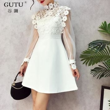 [GUTU] 2018 Spring Summer New Pattern Stand Collar Lace Stitching Full Mesh Sleeve High Waist Ladies Fashion Sexy Dress BA11701