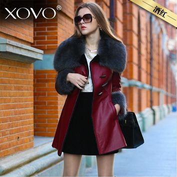 S-XXXL Big wool collar leather jacket coat thicker warm winter fur coat long thicker plus cashmere machine car leather jacket