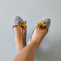 Mini Bow Shoe Clips Mustard Yellow Grosgrain Ribbon by No144