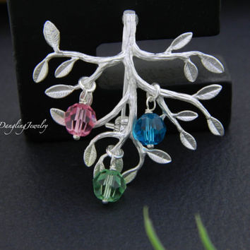 Mother Day Gift, Family Tree Brooch, Family Jewelry, Mother Jewelry, Grandmother Jewelry, Birthstone Jewelry, Personalized Brooch, Mom Gift