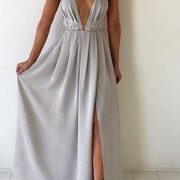 Long V Neck Backless Prom dress