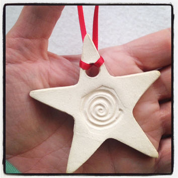 Handmade Swirls Star shaped Ceramic Ornaments- Aromatherapy / Essential Oil Diffuser Christmas ornament