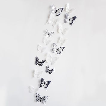 Crystal 18Pcs 3D Butterflies DIY home decor wall stickers for kids room Christmas party decoration kitchen refrigerator decal SM6