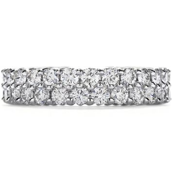 A Perfect 3TCW Solitaire Cut Russian Lab Diamond Wedding Bands Eternity Ring