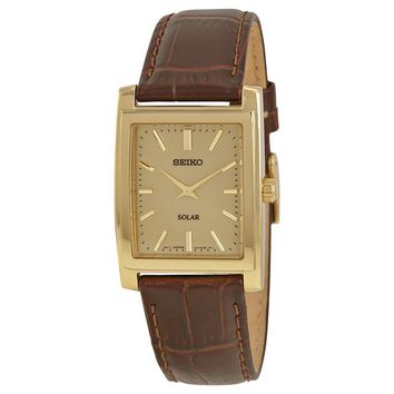 Seiko Solar Quartz Brown Leather Champagne Dial Mens Watch SUP896