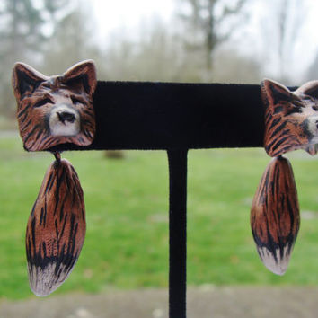 Red Fox Earrings Head and Tail Cute Dangle Polymer Clay