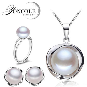 Real Natural Pearl Jewelry freshwater vintage bridal jewelry sets women,925 silver earring sets fine jewelry mom birthday gifts