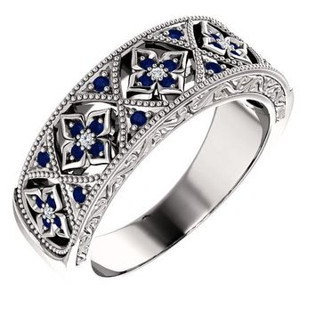 14K White Gold Blue Sapphire & .04 CTW Diamond Floral-Inspired Band