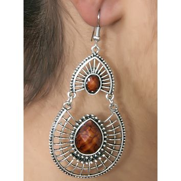 Antique Silver Created Brown Fire Opal Teardrop Earrings with Secure Wire and Hook Backs
