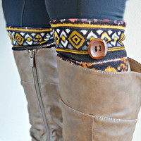 Tribal knit boot cuffs - Boot cuff