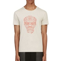 Alexander Mcqueen Beige And Red Embroidered Hands Skull T-shirt