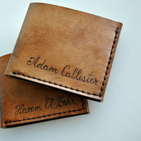 Personalized men leather wallet with coin pocket, anniversary gift for boyfriend, birthday gift for husband
