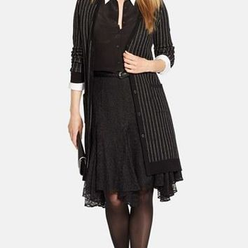 Plus Size Women's Lauren Ralph Lauren Pinstripe Merino Long Sweater Jacket,