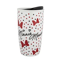 Disney Parks Bow Crazy Minnie Mouse Coffee Tumbler New