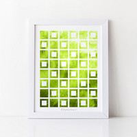 Yellow green art print, Green decor Bathroom art, Green Home decor Wall art print, 8x10 Printable wall decor Geometric print, Green wall art
