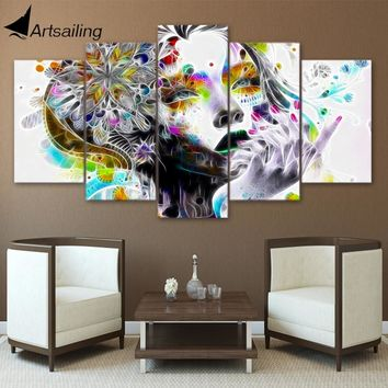 ArtSailing 5 panel wall art on canvas home decoration accessories modern psychedelic woman fractal trosik art print ny-2729