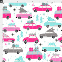 Vintage Christmas Fabric by the Yard Cotton Christmas Tree on Car Pink Quilting Fabric Trees Holiday Christmas Cotton by the Yard 5645257
