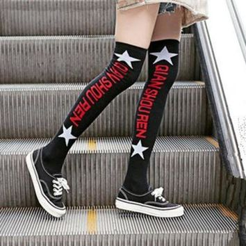 ESBON Autumn Winter Women Fashion Letter Pentagram Cotton Stockings Thigh Socks Highs Socks