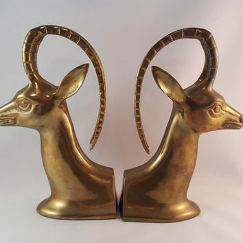 SALE -  Brass Bookends - Set of 2