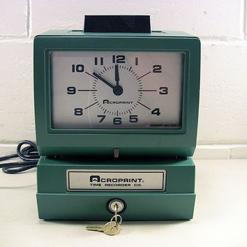 Used Manual Time Clock Acroprint 125 For Parts Repair