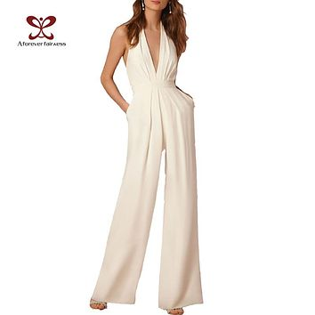Jumpsuit Sleeveless Hollow Out Backless