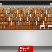 Wood pattern  Keyboard  Sticker mac decal mac book mac book pro mac book air Ipad