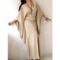 Long V Neckline Dress/ Butterfly Kaftan Dress / Maxi Dress / Loose Extra Long Sleeve Kaftan