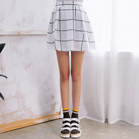 Windowpane Checkered Skirt