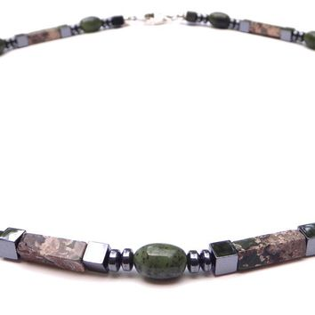 """Vitality"" Men's Crystal Healing Intention Necklace Rhyolite, Jade, Hematite MN37"