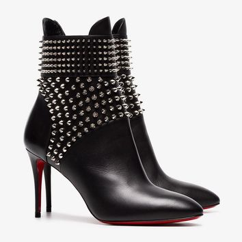 black Hongroise 85 studded leather ankle boots
