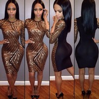 Fashion Gold Sequins Backless Celebrity Bandage Bodycon Party Cocktail Dress B4365 (Color: Gold) = 5738535873