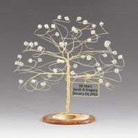 Personalized Wedding Anniversary Cake Topper Tree Gift Idea Custom Swarovski Crystal Elements on Silver Copper Gold Any Anniversary 6""