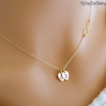 Gold Infinity necklace Personalized Infinity Necklace Infinity Necklace with Initial His Hers Gifts His and Her Necklace Initial Necklace