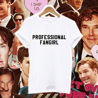 PROFESSIONAL FANGIRL tshirt tee harry potter design t shirt fashion slogan women benedict cumberbutch 1d one direction 5sos tumblr instagram from DOES IT EVEN MATTER