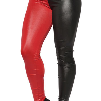 Red and Black Faux Leather High Waist Leggings Design 130