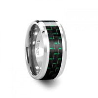 AURIS 10mm Tungsten Carbide Wedding Band with Black & Green Carbon Fiber Inlay
