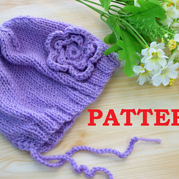 Baby Hat Pattern Newborn beanie PDF Knitting Baby girl hats with flower Pattern Download Easy Knit Instant Download  Tutorial patterns