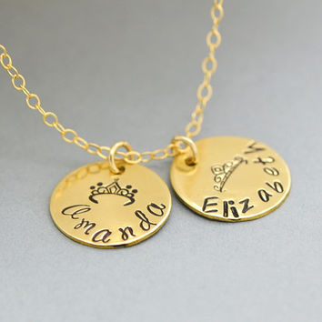 Mother Daughter Necklace, Personalized Gold Necklace, Sterling Silver Name Necklace, Mom Daughter Necklace, Two Disc Necklace