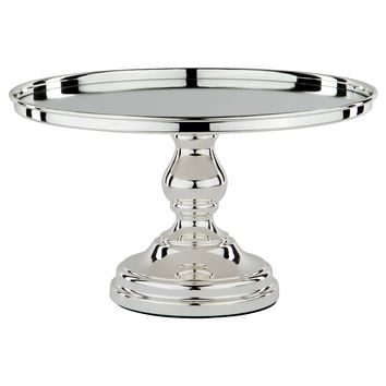 12 Inch Shiny Metallic Mirror-Top Cake Stand (Silver Plated)