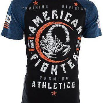 Licensed Official AMERICAN FIGHTER Mens T-Shirt MICHIGAN Athletic BLACK BLUE Biker Gym MMA UFC $40