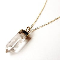 Quartz crystal necklace crystal point gold pendant long chain metaphysical