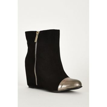 Black And Silver Zip Detail Faux Suede Hidden Wedge Ankle Boots