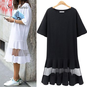 Self Duna 2018 summer Women Plus Size Dress 3XL 4XL XXXL XXXXL Shift Dress Loose Black White Mesh Short Sleeve T Shirt Dress